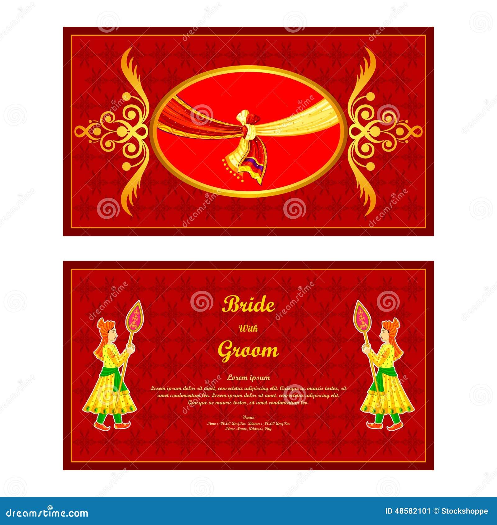 Indian Wedding Invitation Card Stock Vector - Illustration of ...