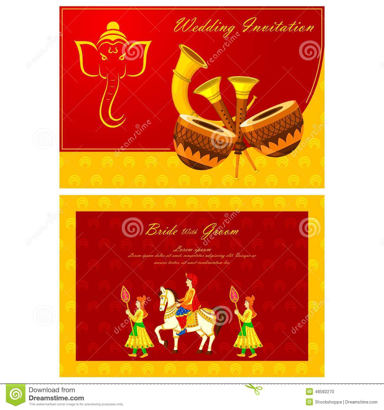 Indian Wedding Invitation Card Stock Vector - Illustration of ethnic ...