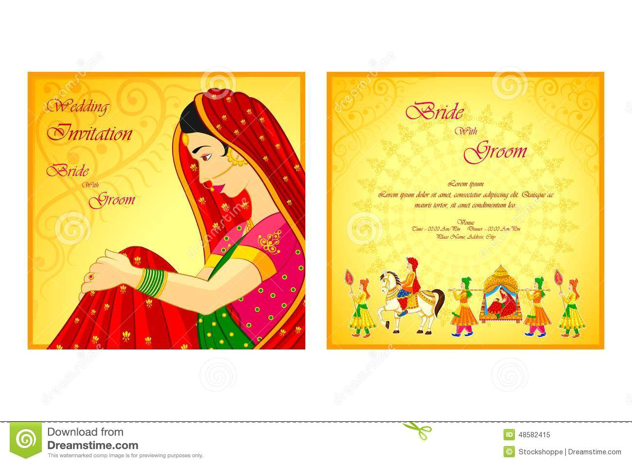 Download Indian Wedding Invitation Card Stock Vector   Illustration Of  Celebration, Illustration: 48582415. Download Comp