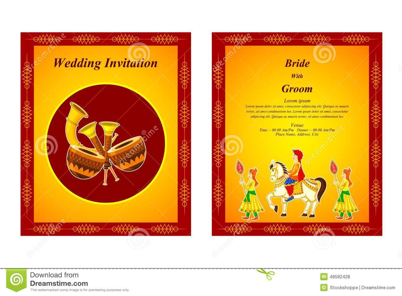 Indian Wedding Invitation Card Stock Vector - Illustration of hindu ...