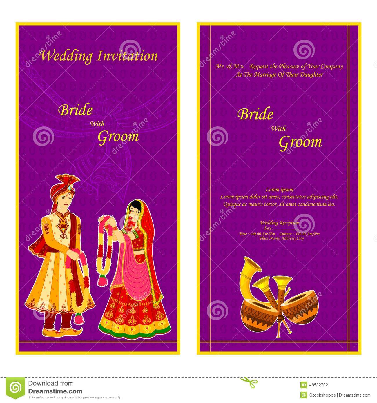Indian Wedding Invitation Card Stock Vector - Image: 48582702