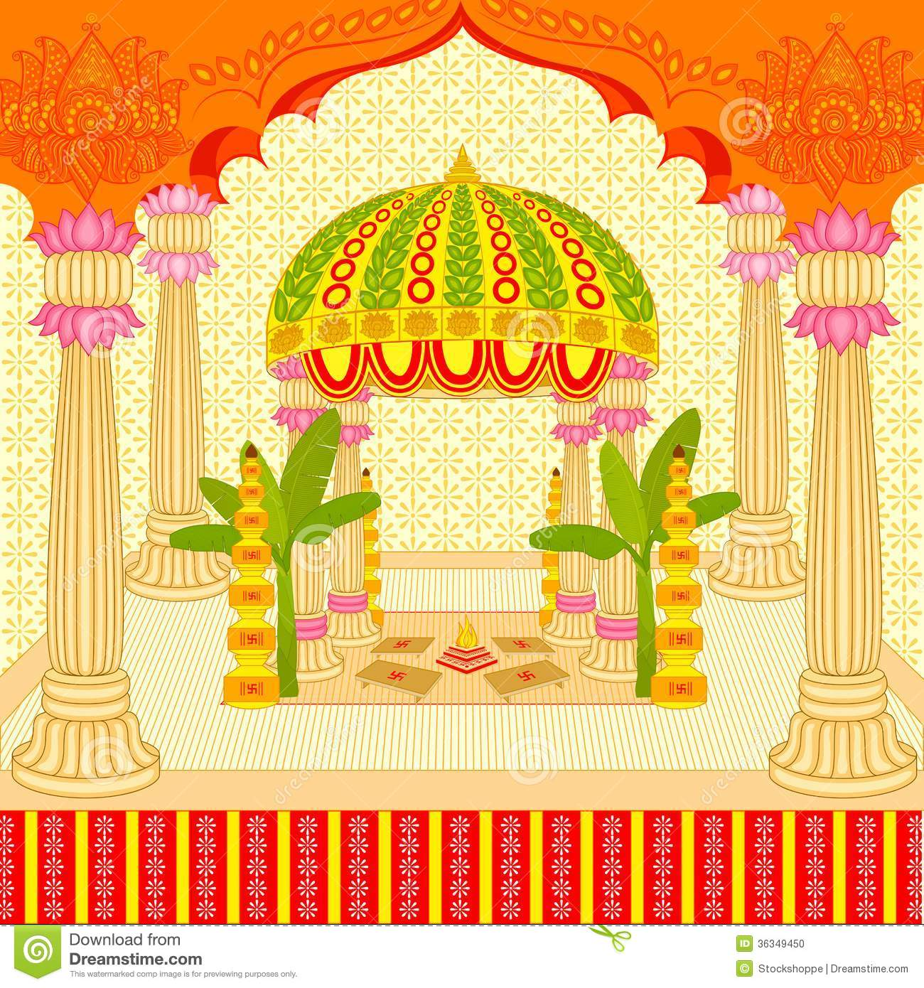 Indian Wedding Mandap Stock Vector Illustration Of Bridegroom