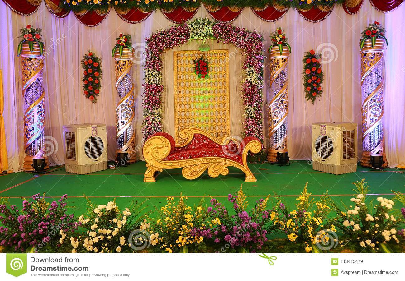 Indian Wedding Stage stock image. Image of decoration - 113415479