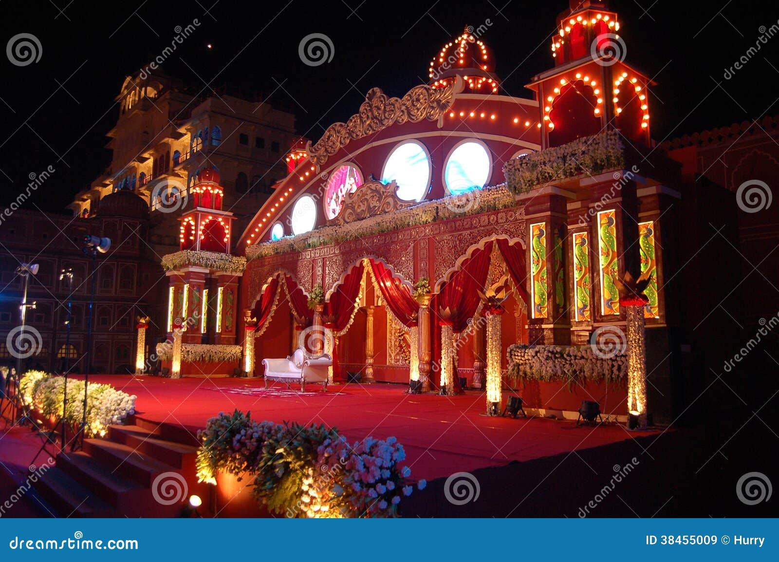 Indian wedding stage mandap stock image image 38455009 for Decor india jaipur