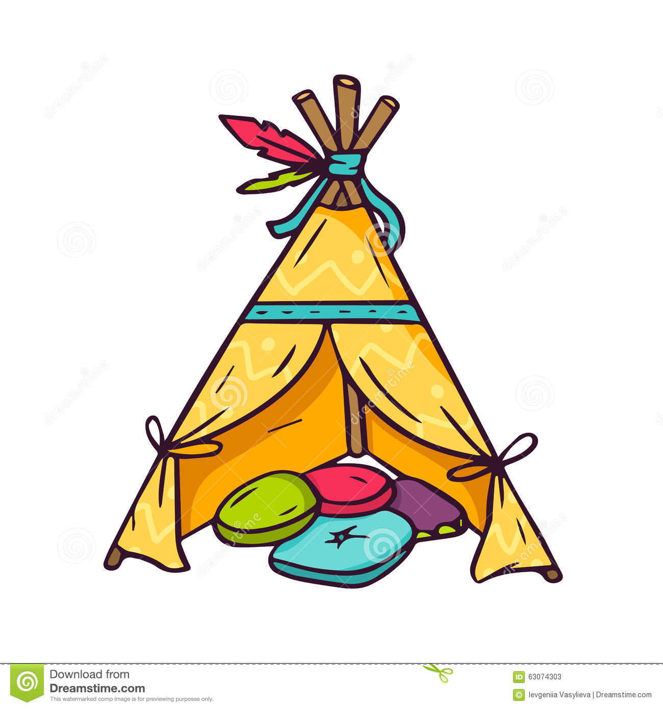Indian Wigwam For Kids Room On White Stock Vector Image