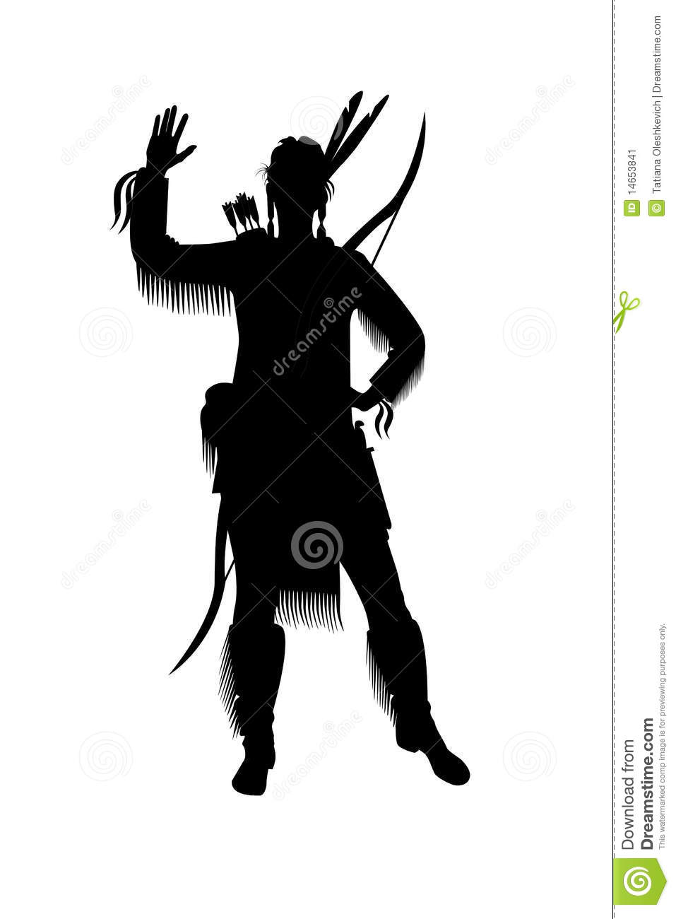 Indian Woman With A Bow And Arrows Stock Illustration