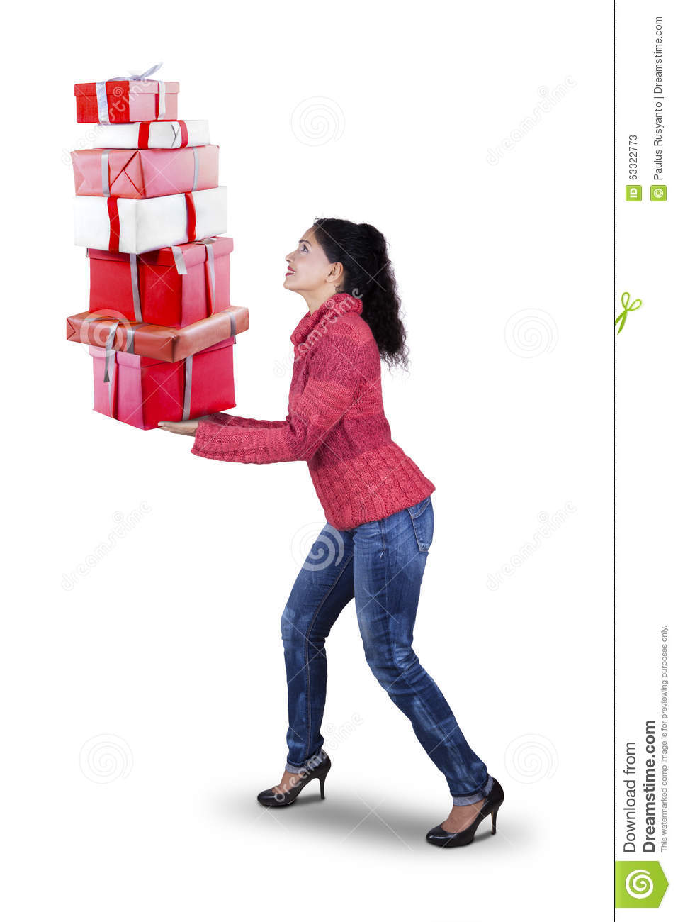 Indian Woman Carrying Christmas Gifts Stock Image - Image of people ...