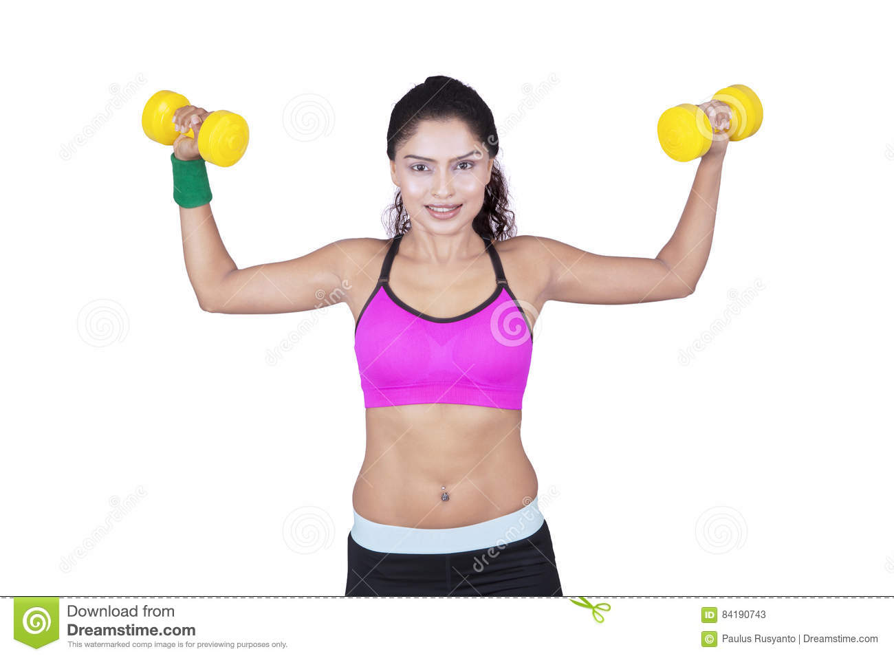 indian woman doing exercise with dumbbells stock image image of