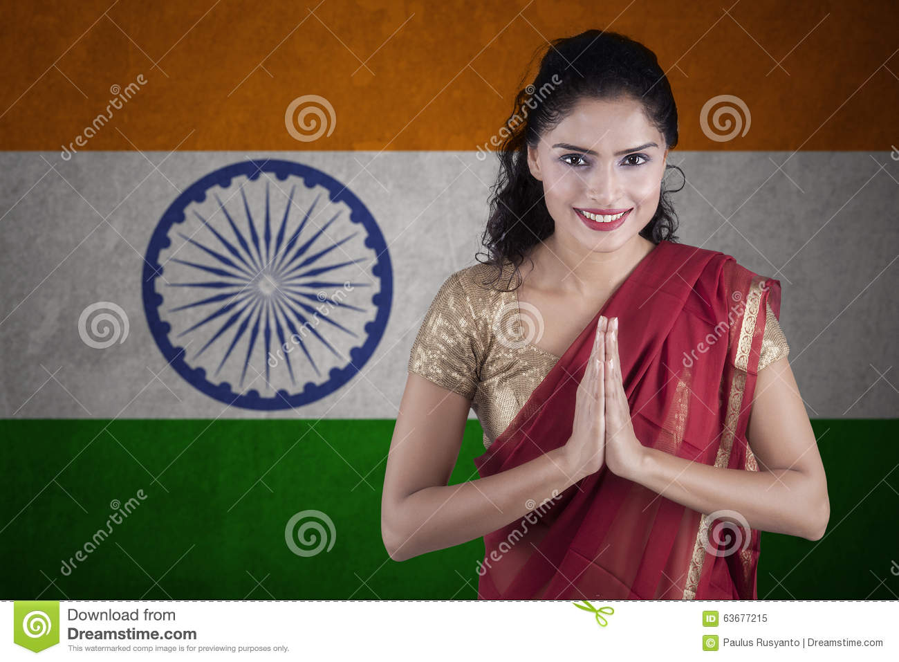 Indian woman with flag of India