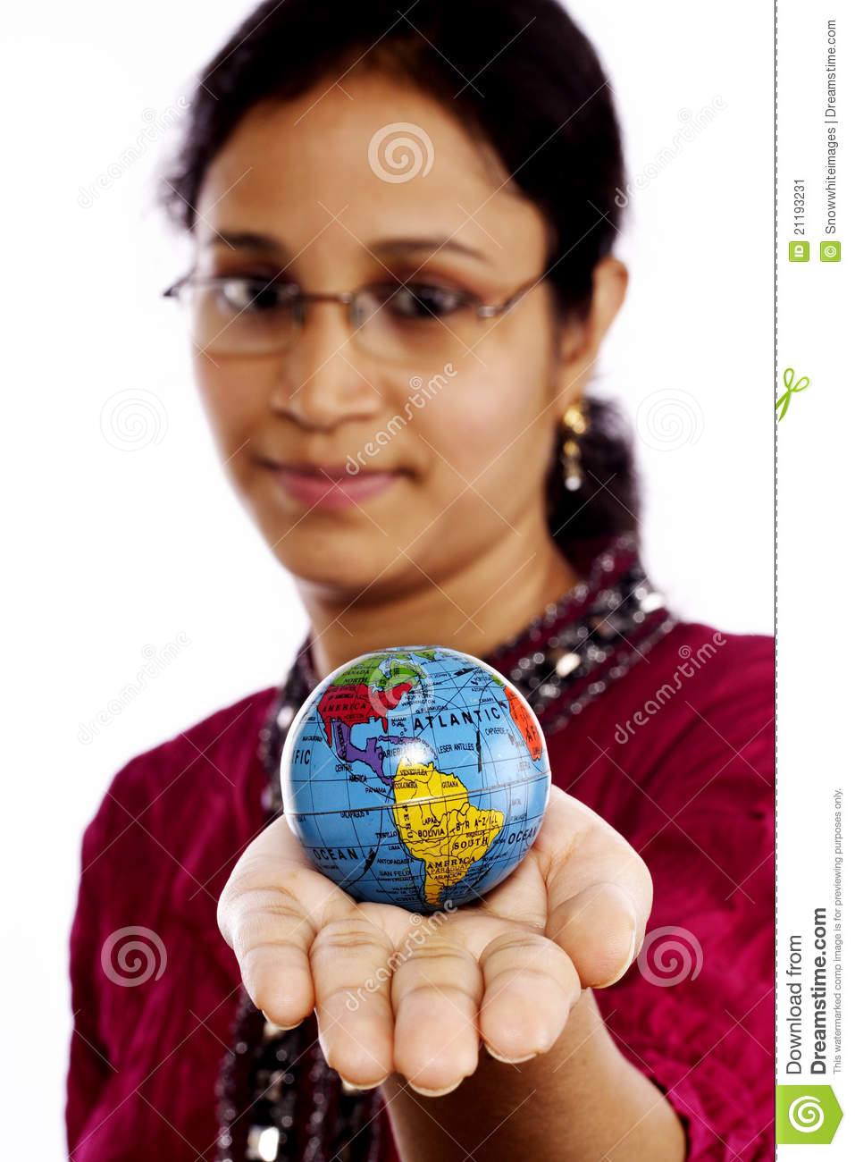 Indian woman holding a globe