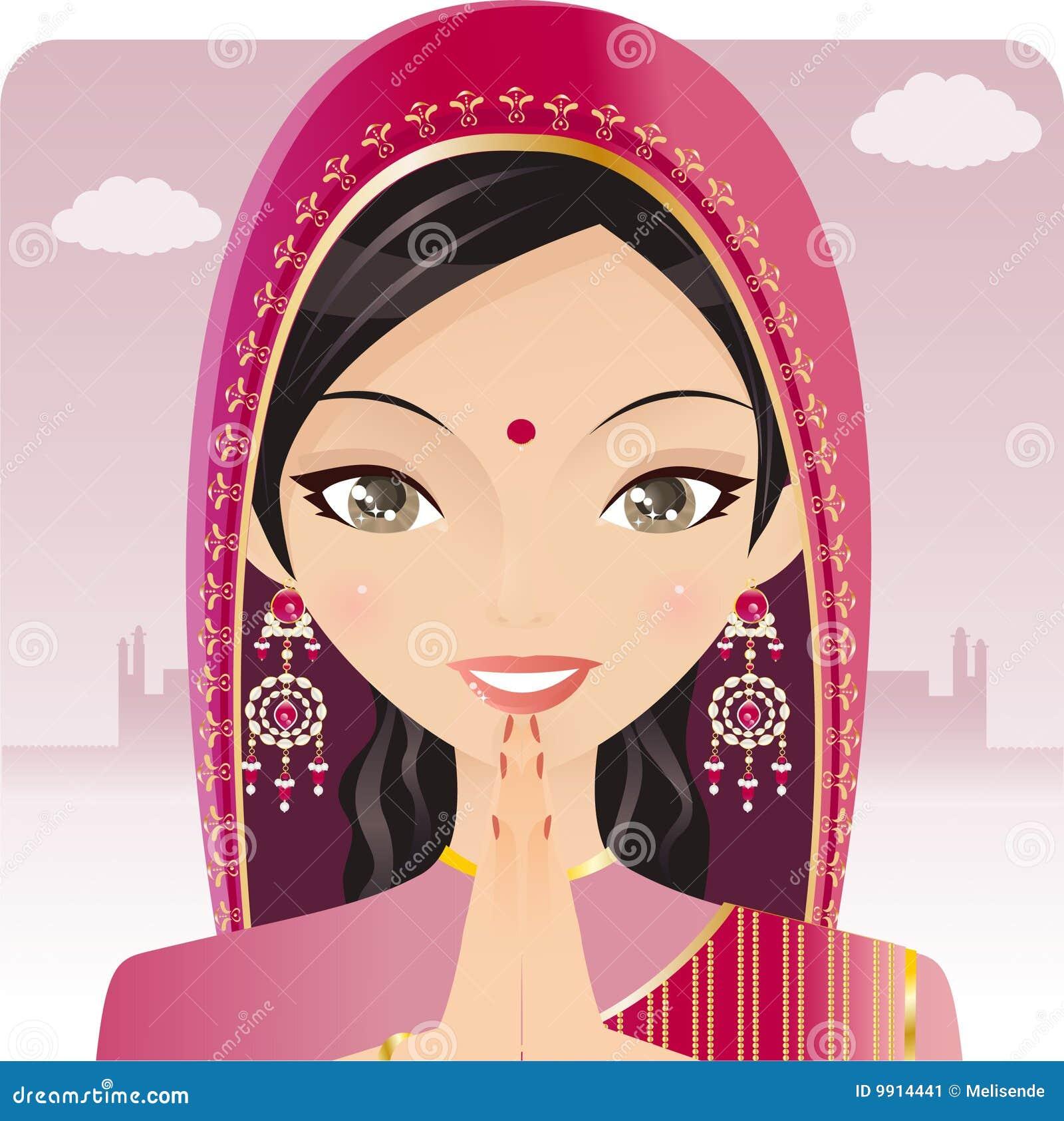 Indian Woman Praying Stock Vector Image Of Girls Hindu