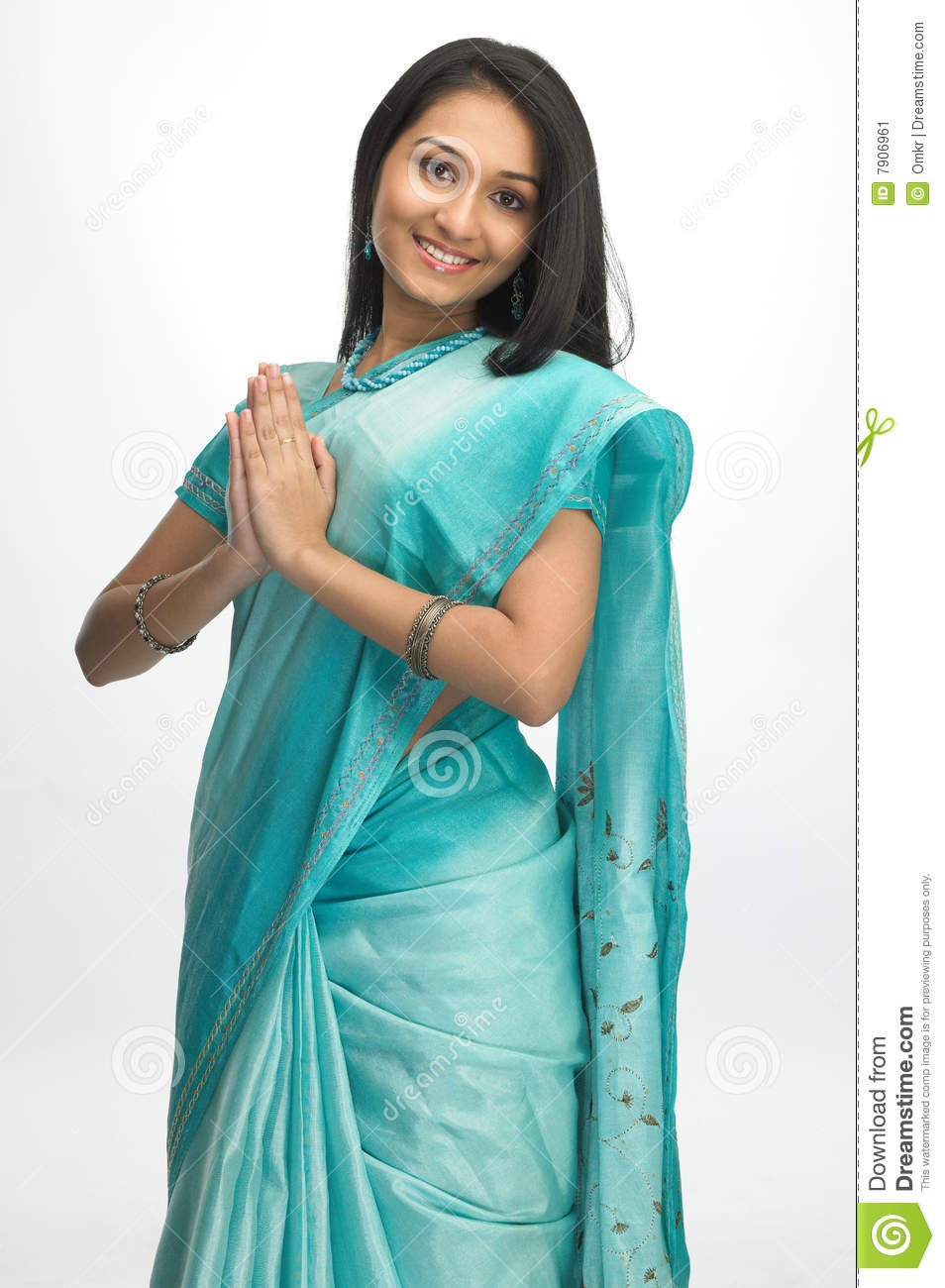 Indian modern dress - Indian Woman In Sari With Welcome Posture Indian Woman Standing In