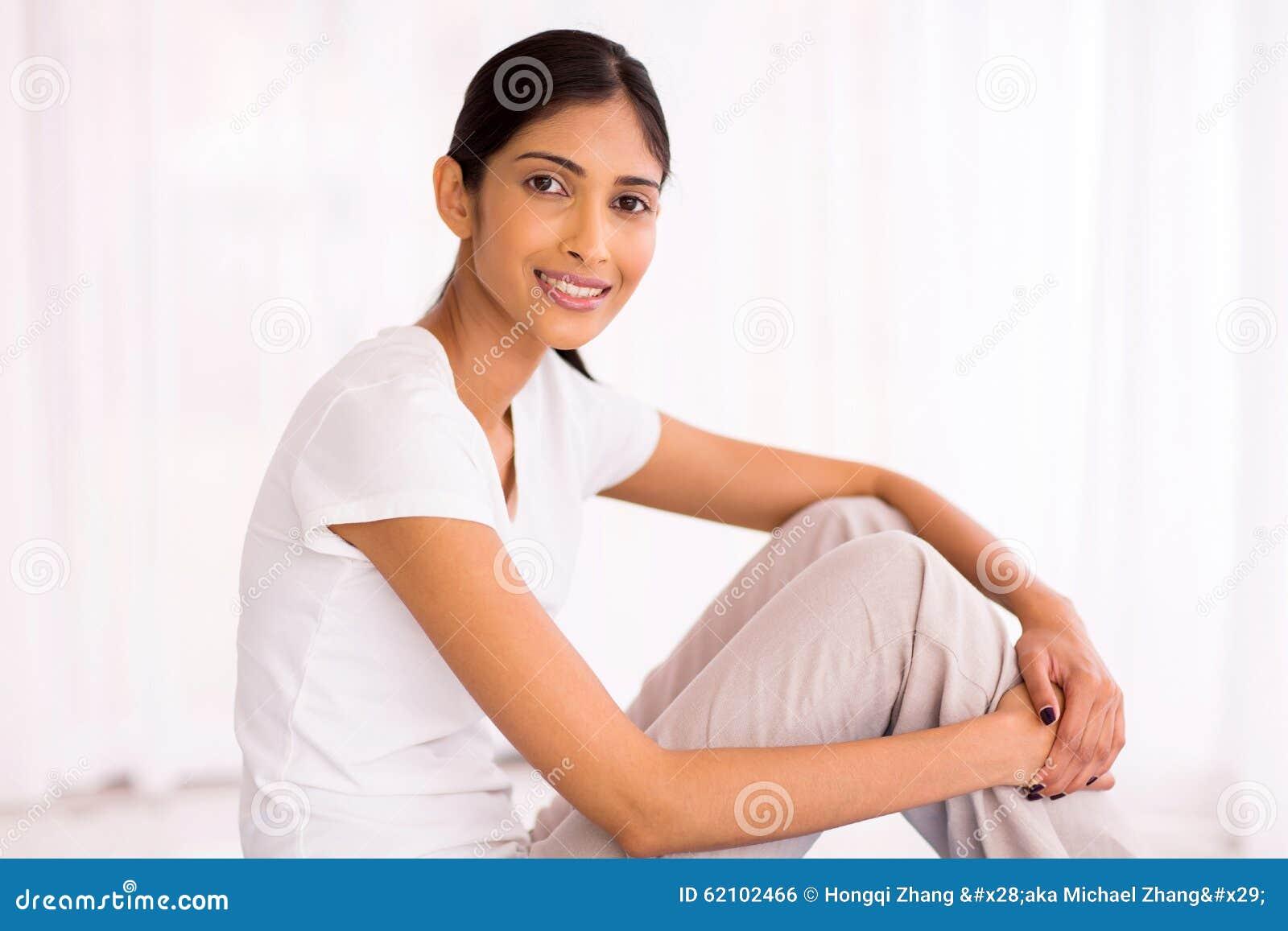 Indian Woman Sitting Stock Photo - Image: 62102466