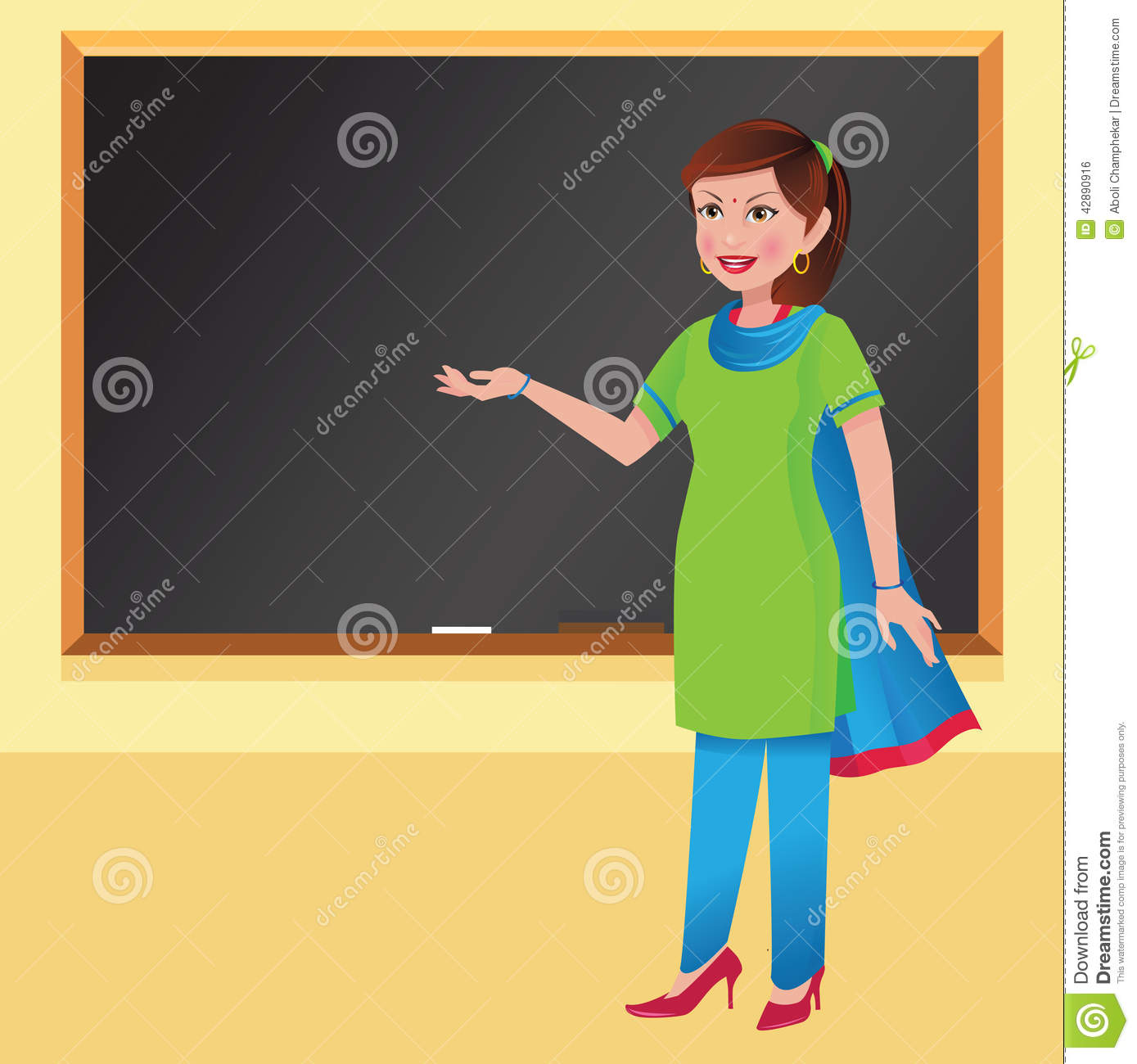 Indian Woman Teacher In Front Of A Blackboard Stock Photo - Image: 42890916