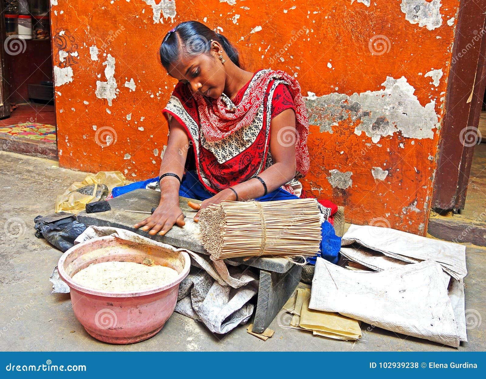 Indian Women Make Incense Sticks Editorial Stock Photo Image Of Relax Aromatherapy 102939238