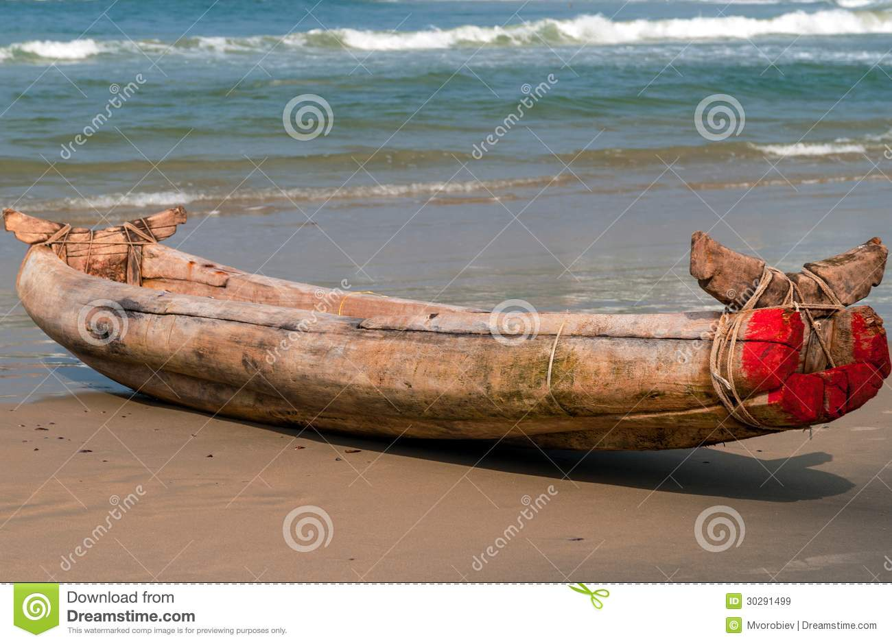Indian Wooden Boat Stock Image Of Sand