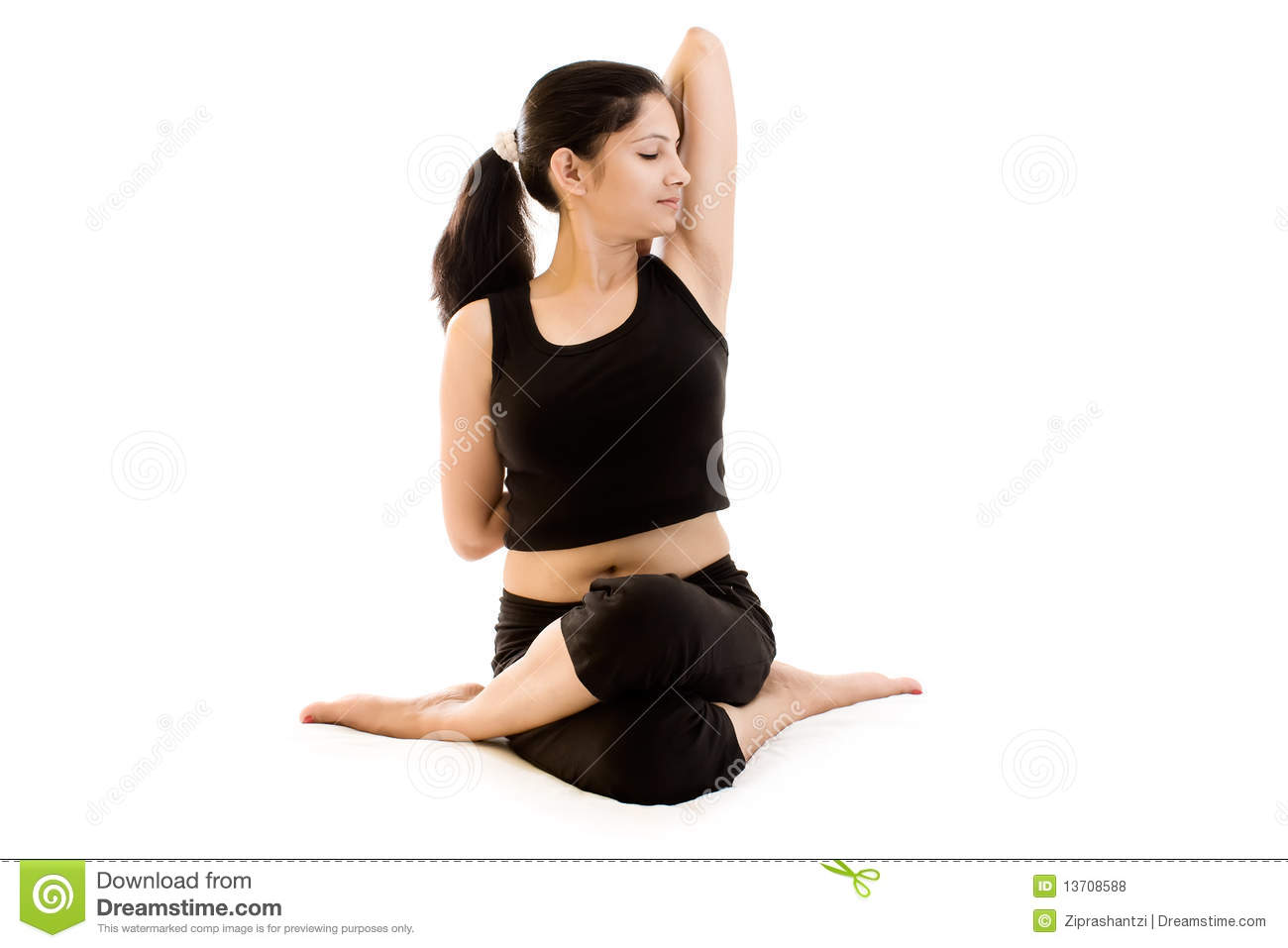 75b5c19ceb A beautiful Young Indian girl in black dress doing yoga isolated white  background