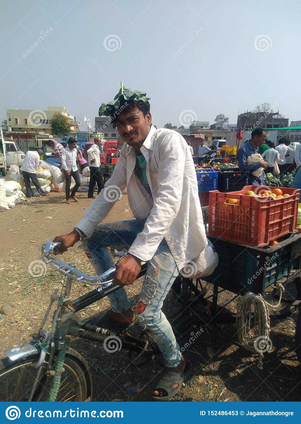 Indian young boy businessman an Indian market