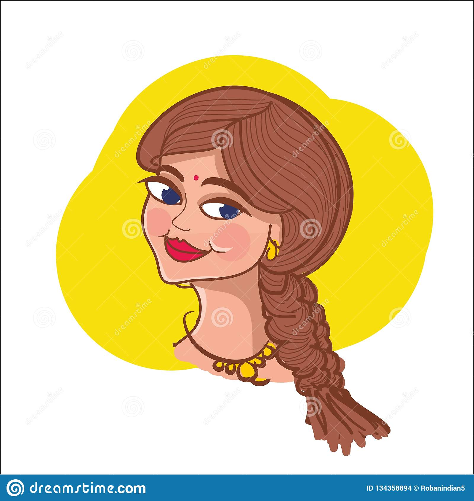 Indian Young Girl Cartoon Vector Illustration Woman Logo