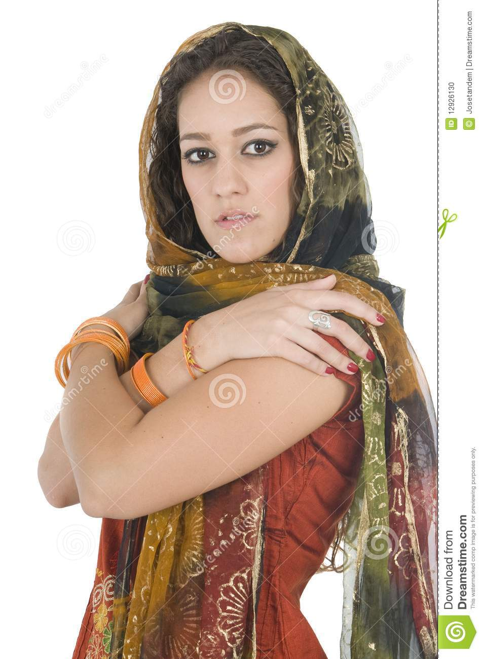 Indian young woman in traditional clothing isolated in white