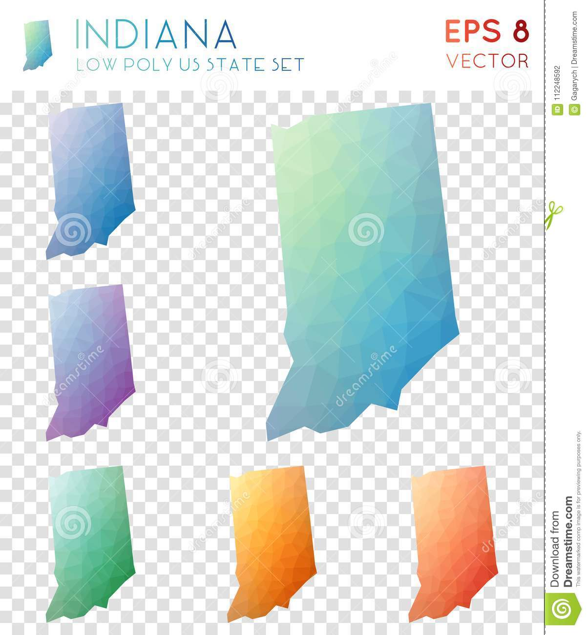 Download Indiana Geometric Polygonal Maps, Mosaic Style Us. Stock Vector    Illustration Of Border