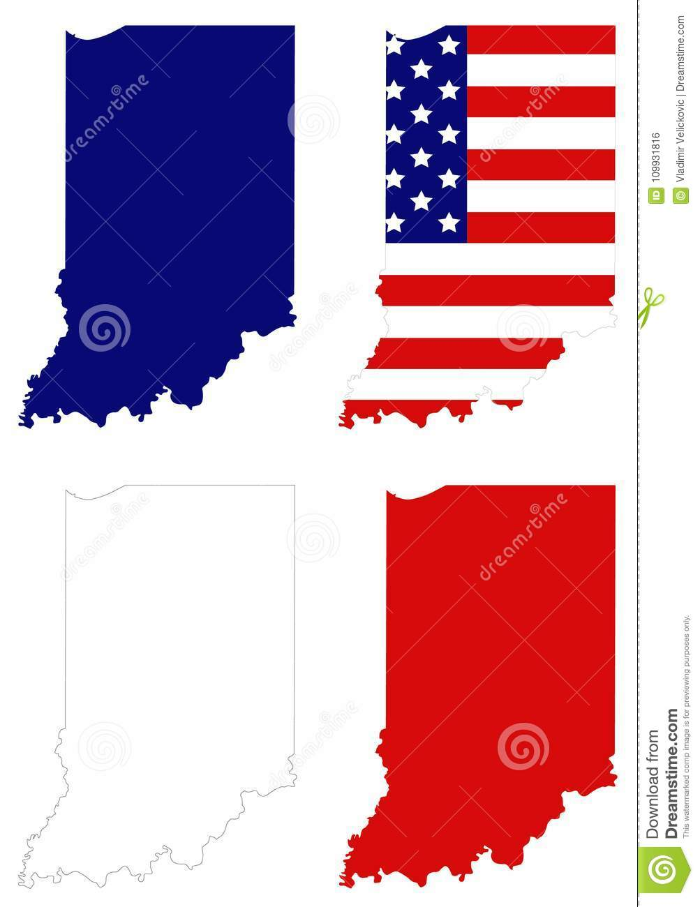 Indiana Map With USA Flag - State In The Midwestern Region Of The ...
