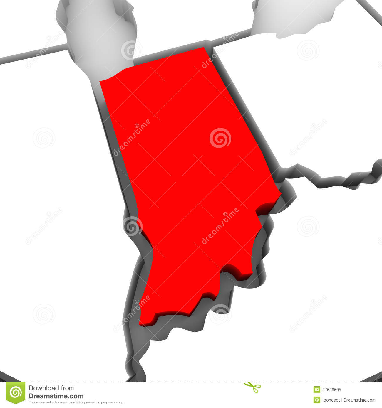 Indiana Red Abstract 3D State Map United States America Stock ...