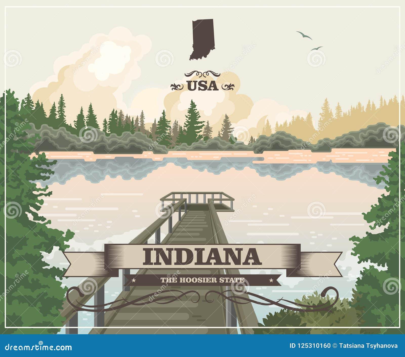 Indiana State Lo stato del hooster Gli Stati Uniti d America Cartolina da Indianapolis Vettore di viaggio
