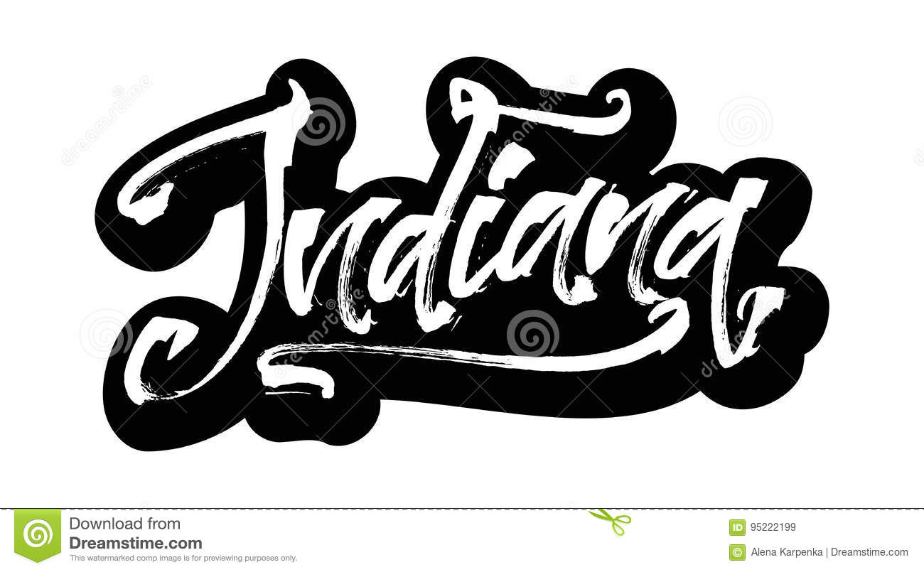Indiana  Sticker  Modern Calligraphy Hand Lettering For
