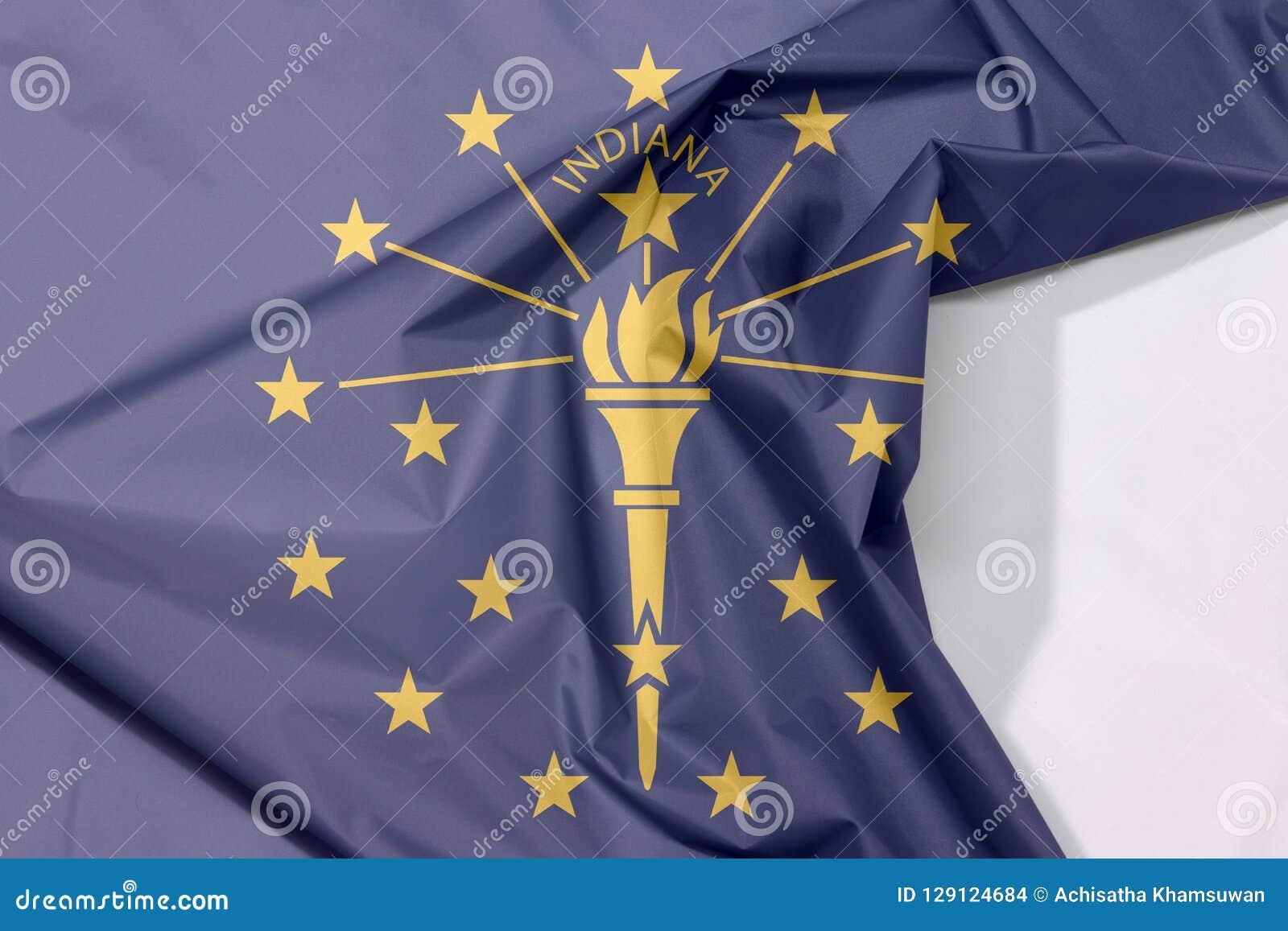 Indiana tkaniny flaga krepa i zagniecenie z biel przestrzenią stany Ameryka