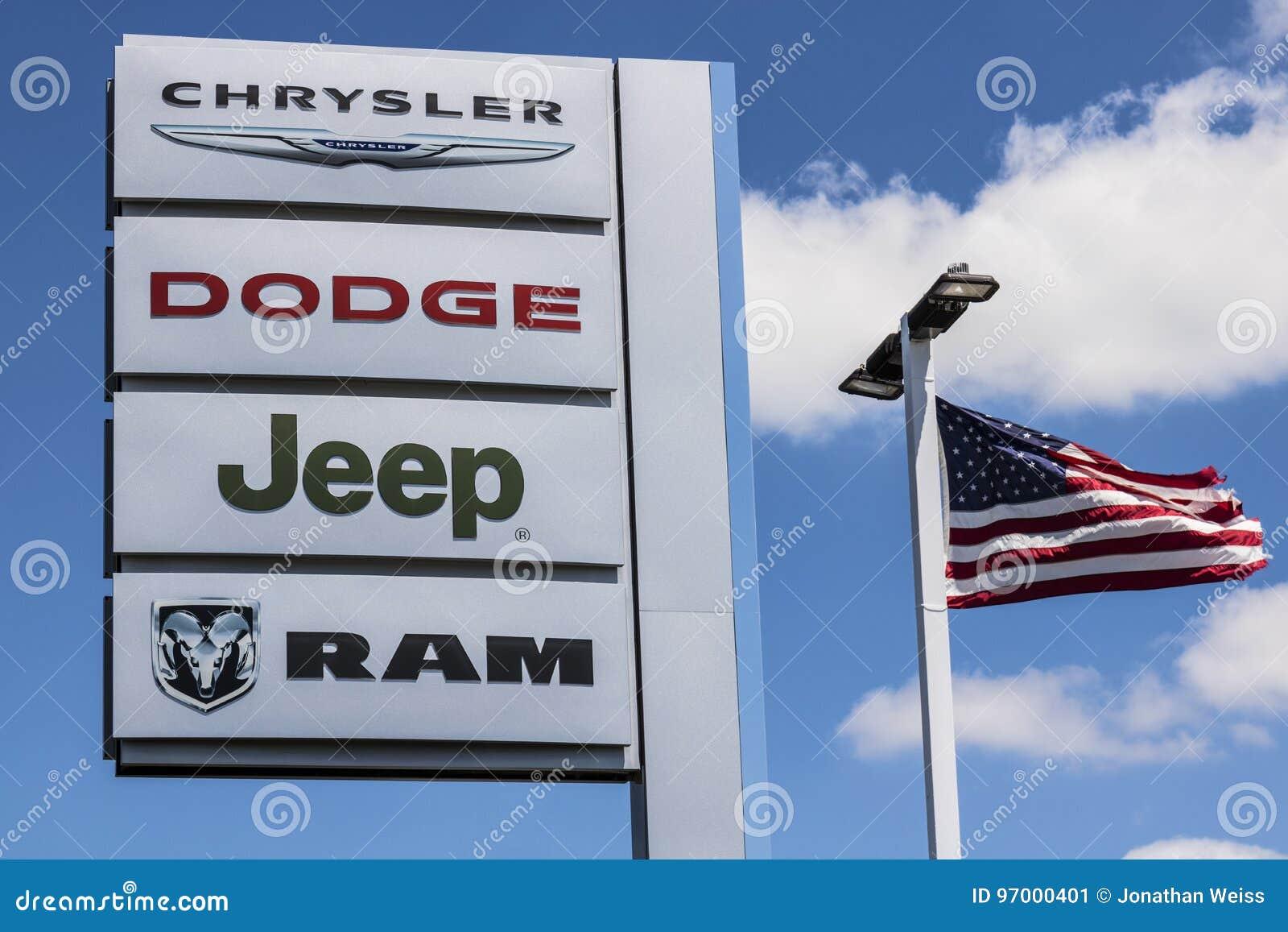 Dodge Dealership Indianapolis >> Indianapolis Circa July 2017 Logo And Dealership Signage Of The