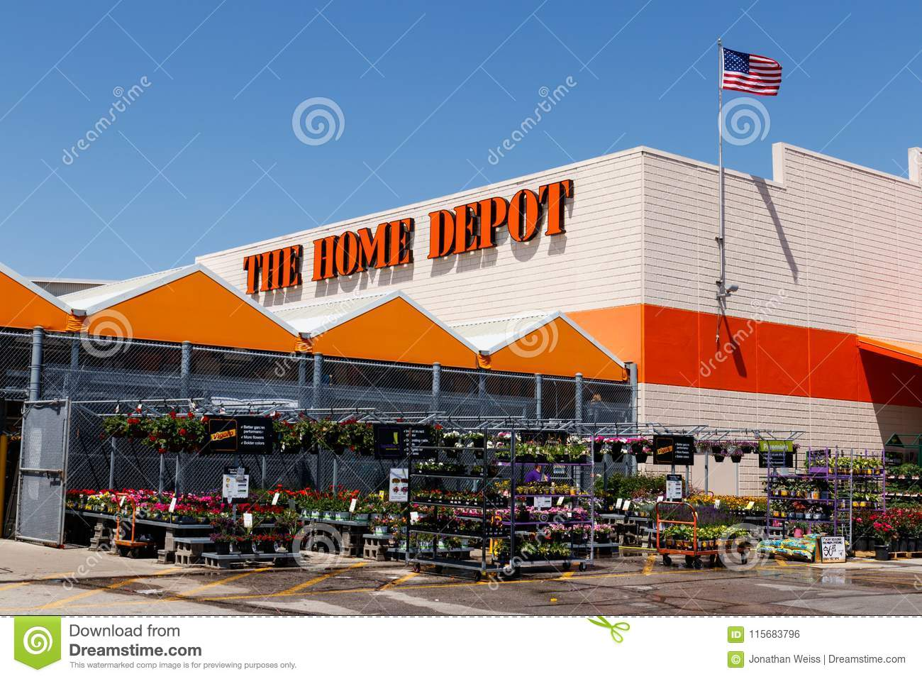 Indianapolis - Circa May 2018: Home Depot Location flying the American flag. Home Depot is the Largest Home Improvement Retailer I