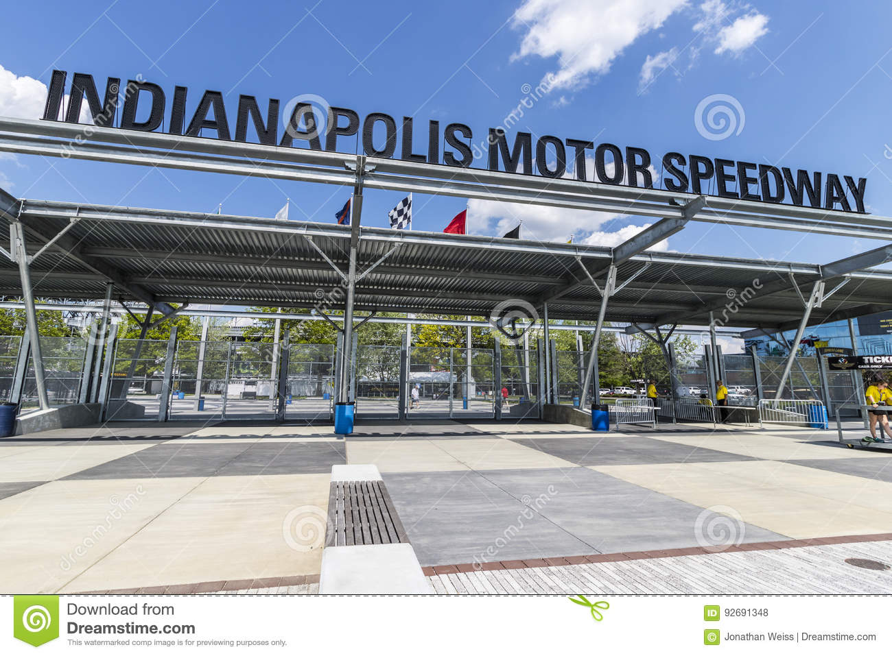 Indianapolis - Circa May 2017: Indianapolis Motor Speedway Gate 1 Entrance. IMS Hosts the Indy 500 and Brickyard 400 Auto Races VI