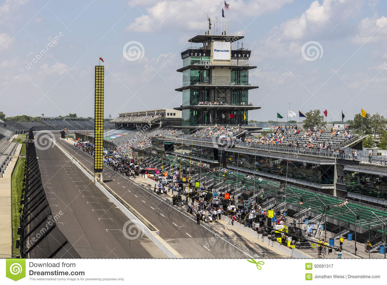 Indianapolis - Circa May 2017: The Panasonic Pagoda at Indianapolis Motor Speedway. IMS Prepares for the of the Indy 500 IV