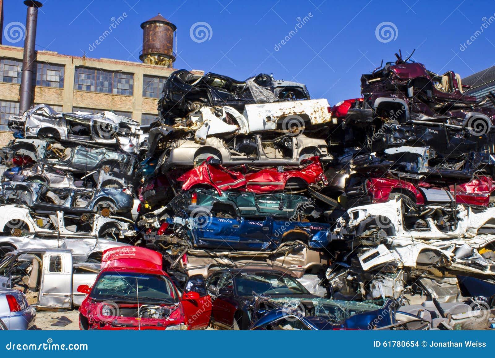 Indianapolis - Circa November 2015 - A Pile Of Stacked Junk Cars ...