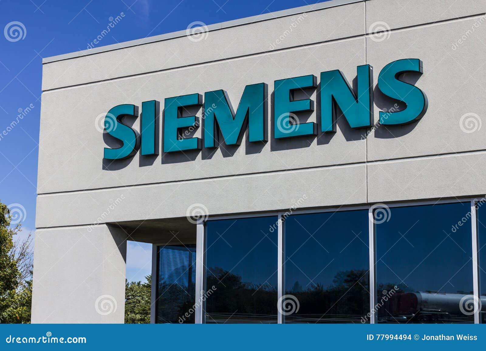 Indianapolis - Circa September 2016: Siemens byggnadsteknologier Siemens använder ungefärligt 362.000 personer över hela världen