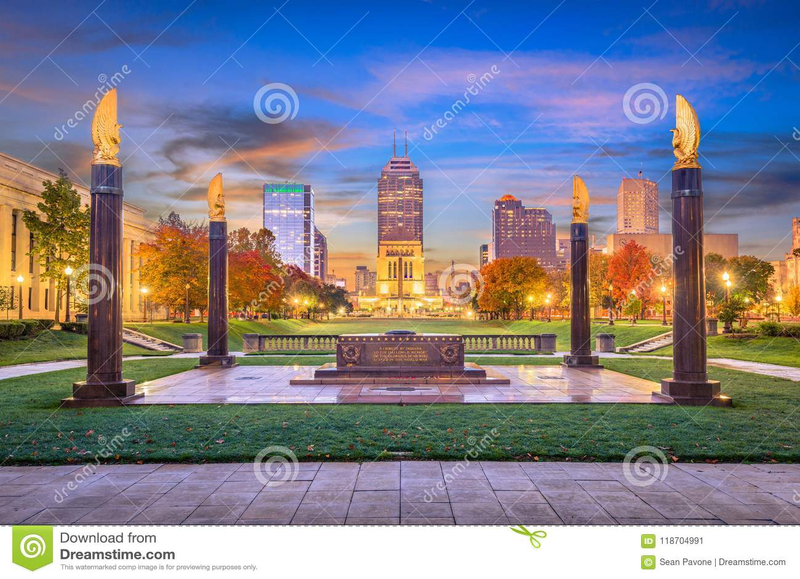 Indianapolis, Indiana, USA-Monumente und Skyline