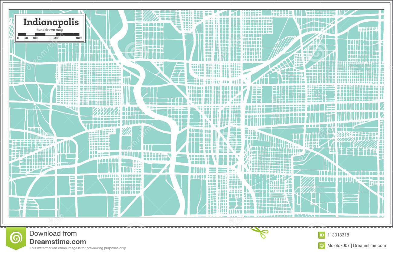 Indianapolis USA City Map In Retro Style. Outline Map. Stock ...