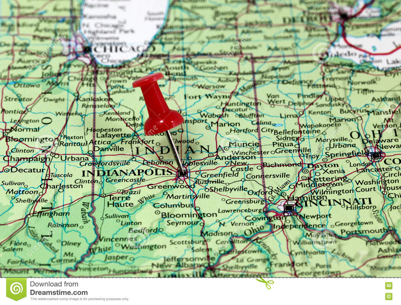 Indianapolis In USA Stock Photo Image - Indianapolis map usa