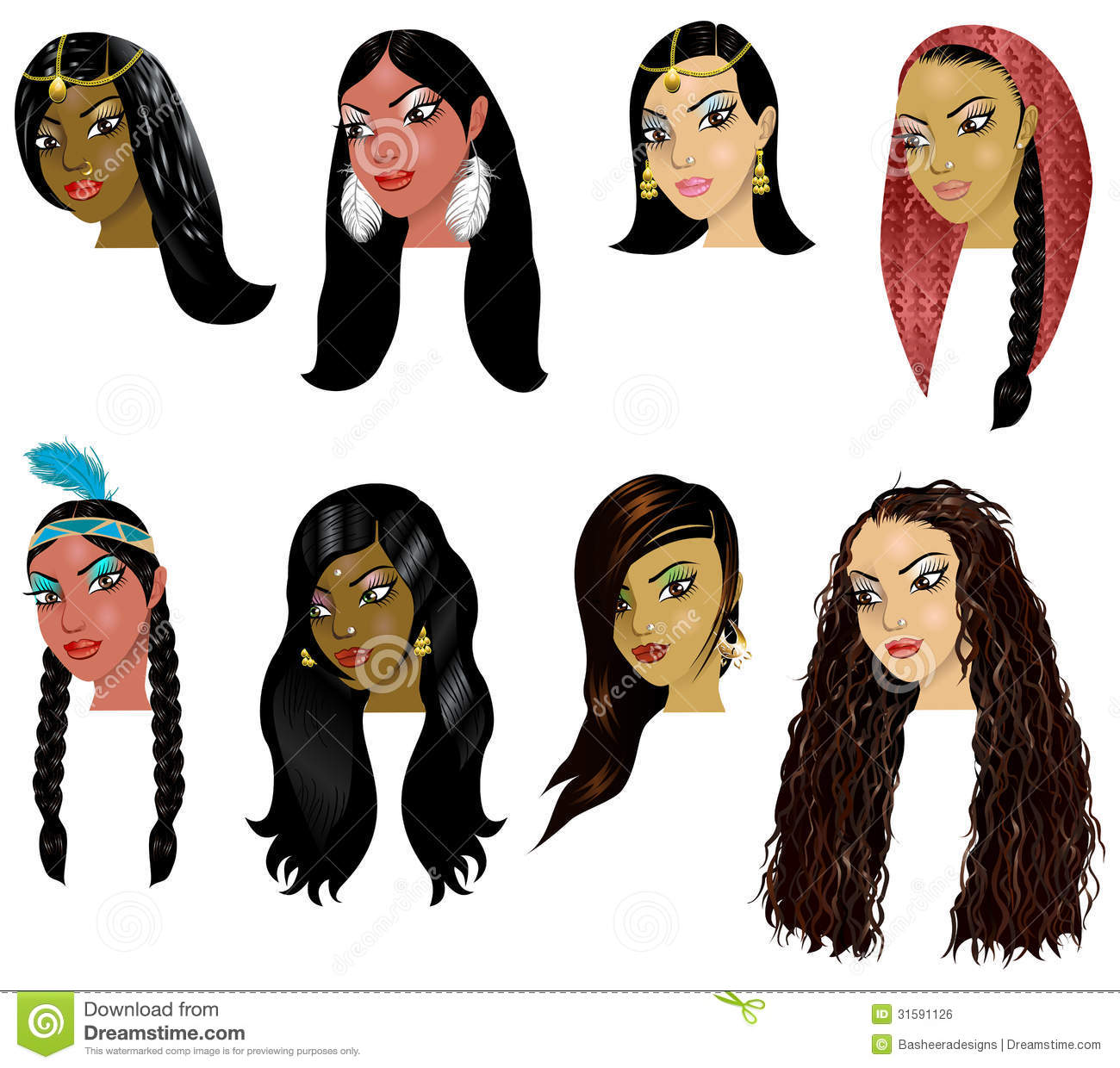 Crowd Of Indian Women Vector Avatars Stock Vector: IndianArabWomenFaces Royalty Free Stock Image