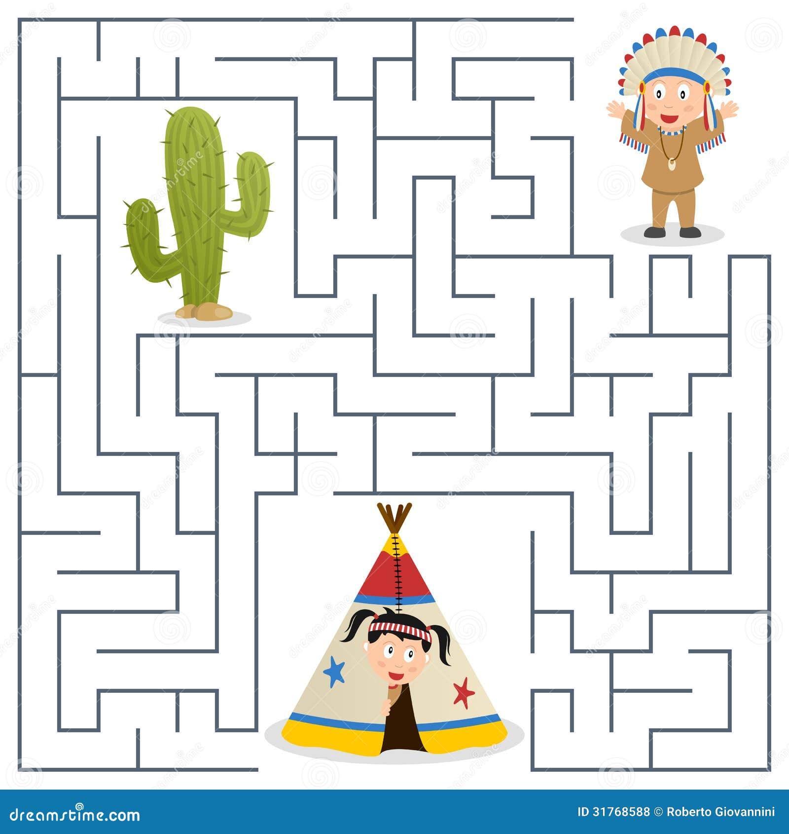 Indianer Labyrinth Für Kinder Vektor Abbildung Illustration Von
