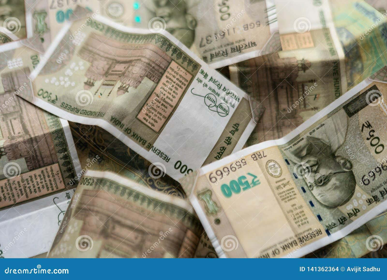 Indianin Pięćset rupii waluty tło