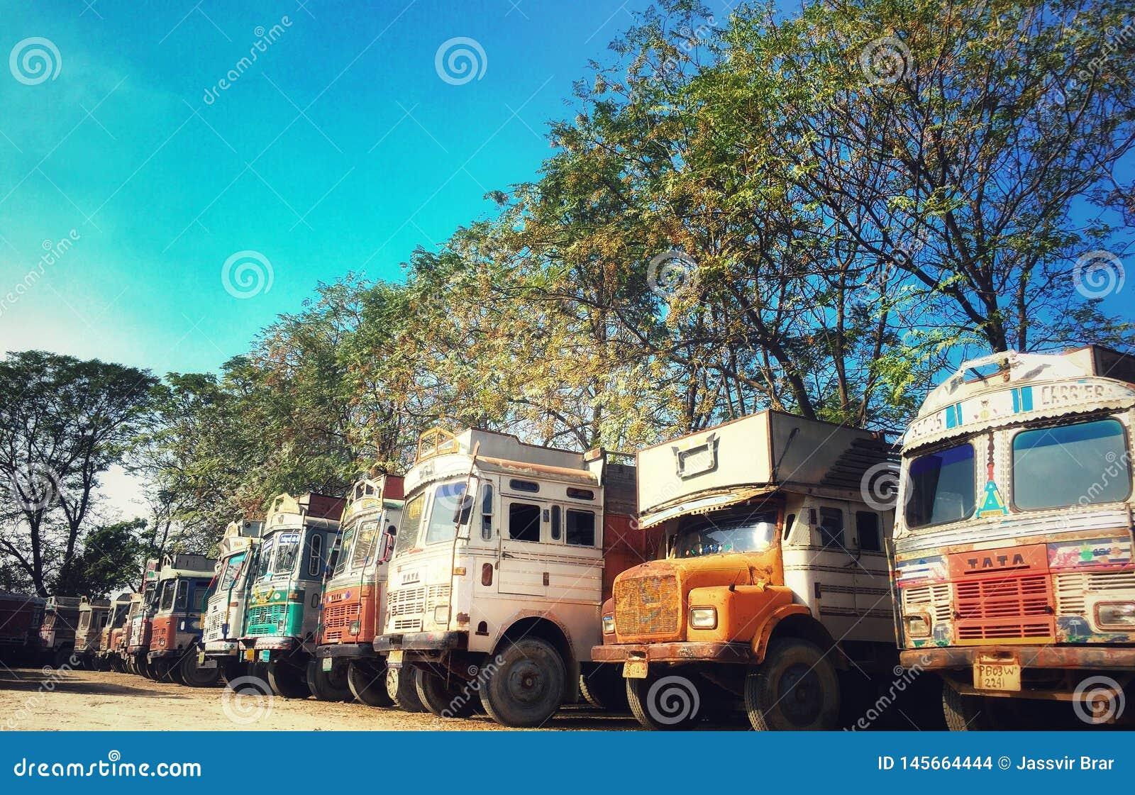 Indianin przewozi samochodem w ciężarowym zjednoczeniu ind