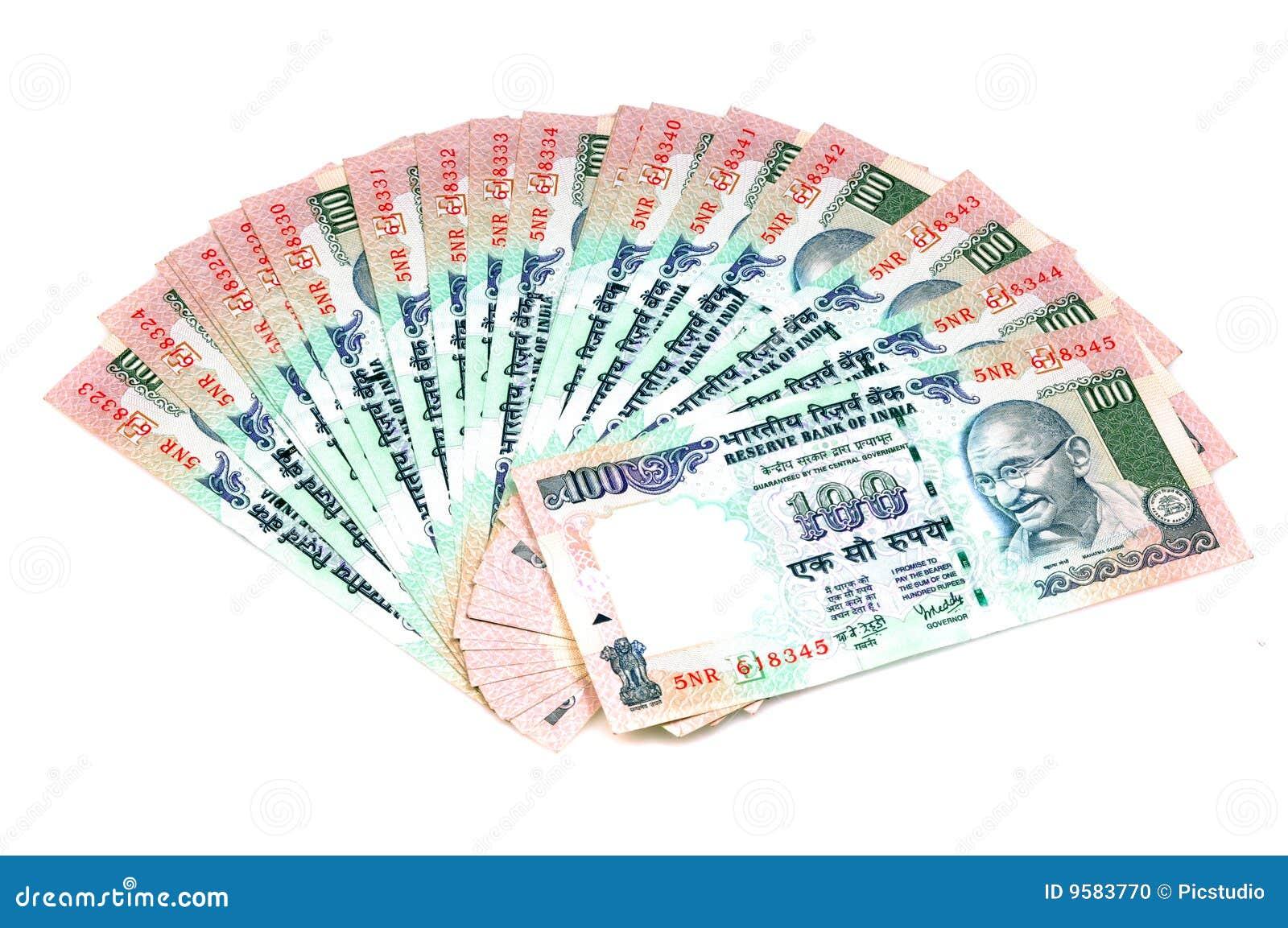 Indiano 100 rupie di note