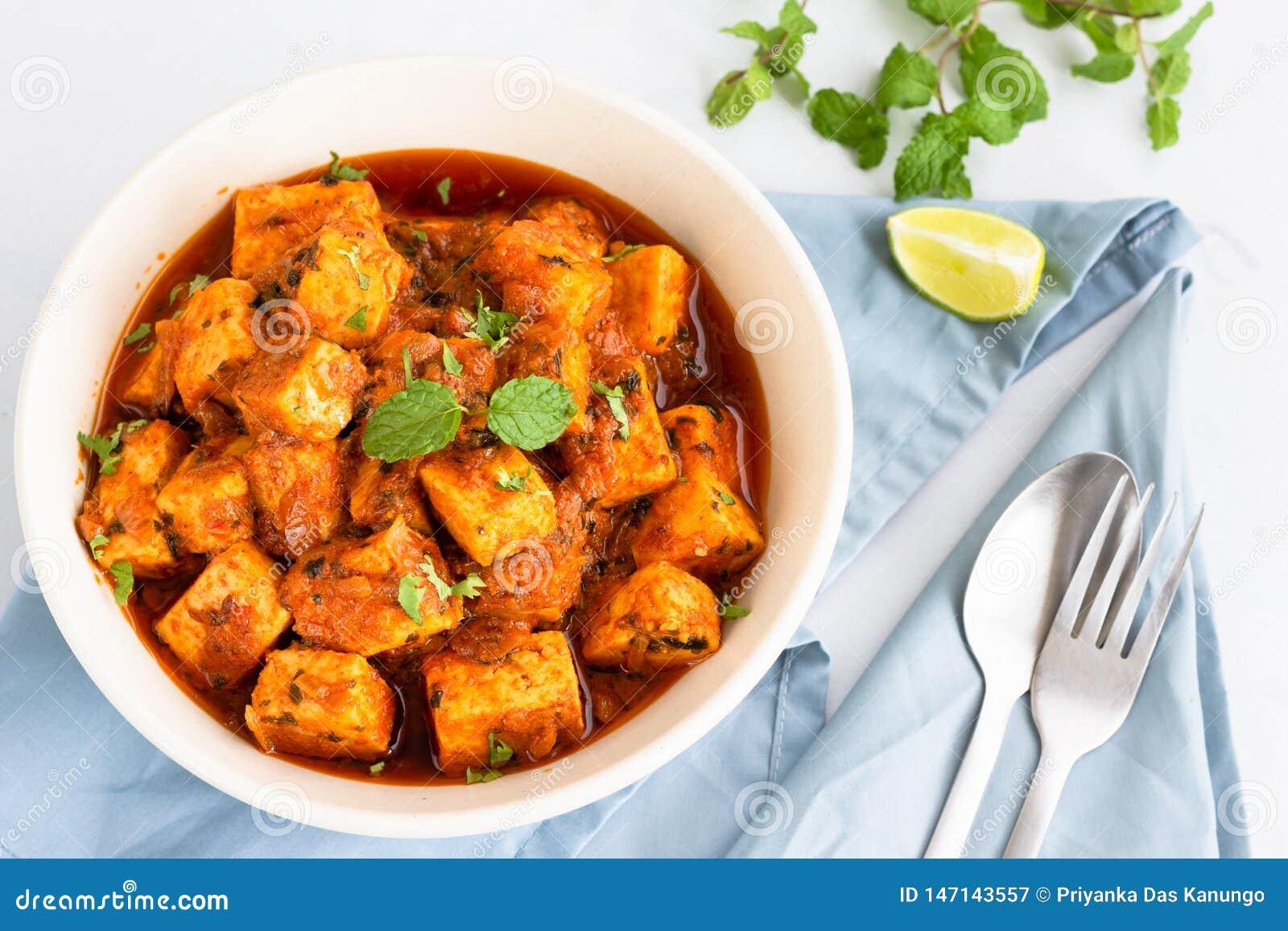 Indiano Paneer Masala, Tawa Paneer, Paneer Tikka Masala, prato indiano do caril do vegetariano, prato lateral, alimento indiano e