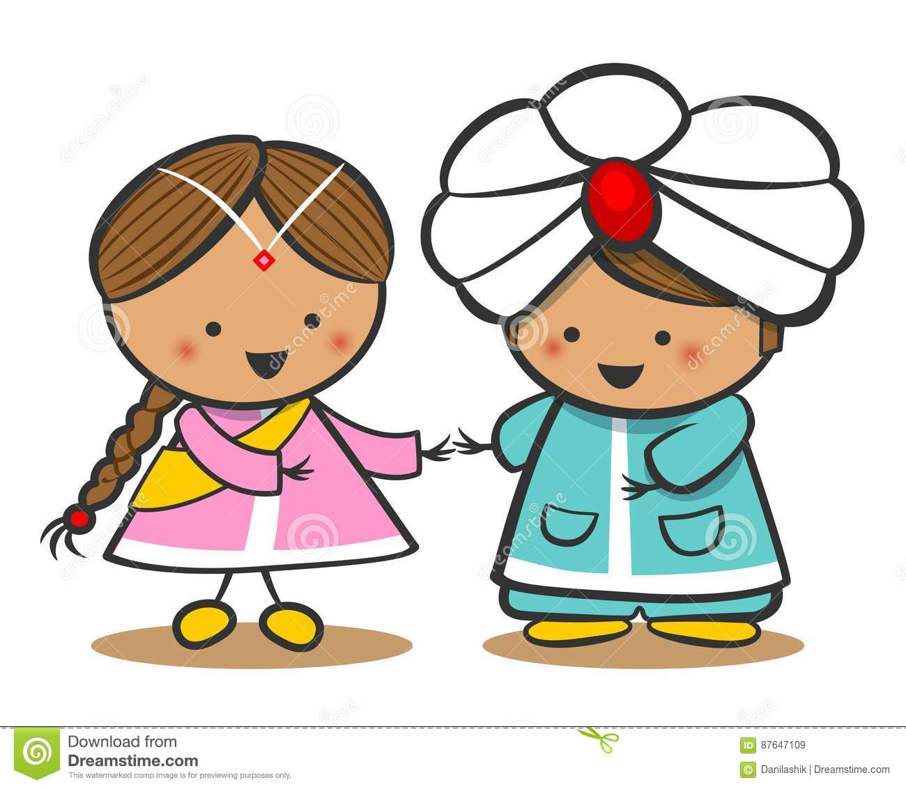 Indians In National Dress. A Boy And A Girl In Traditional ...