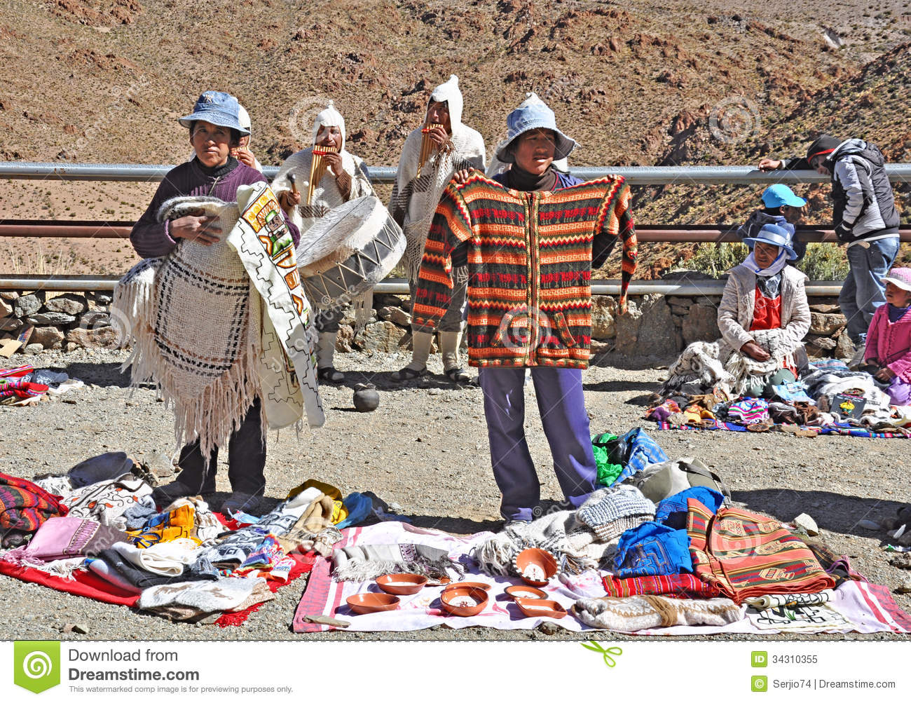 Indians Sell Clothes And Souvenirs And Play National Music