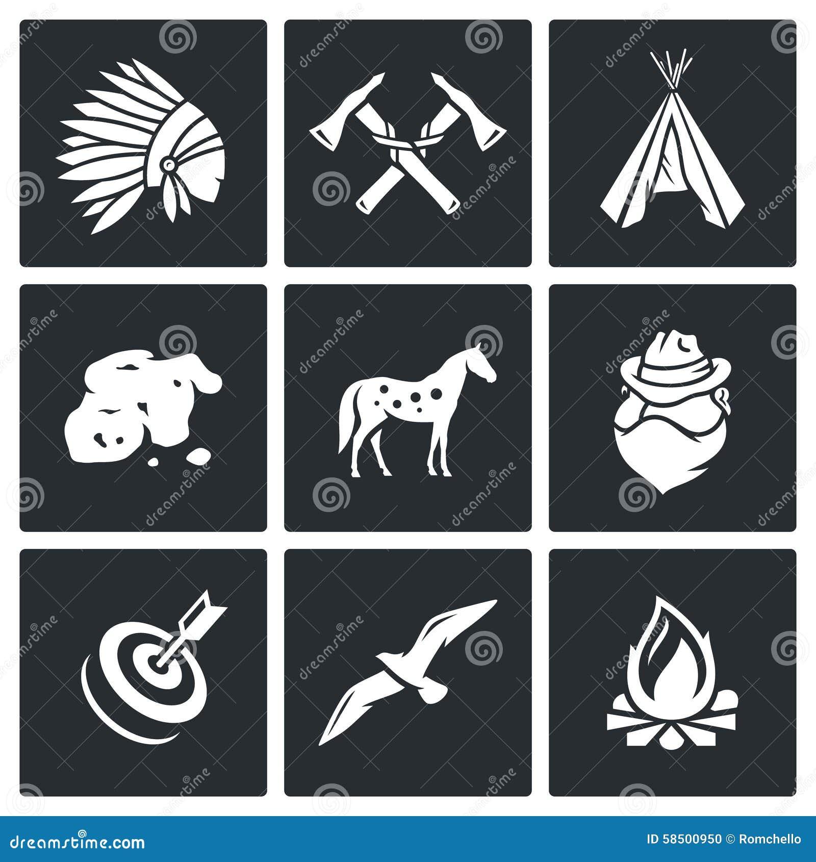 Vector Set Of Apaches Icons. Cartoon Vector