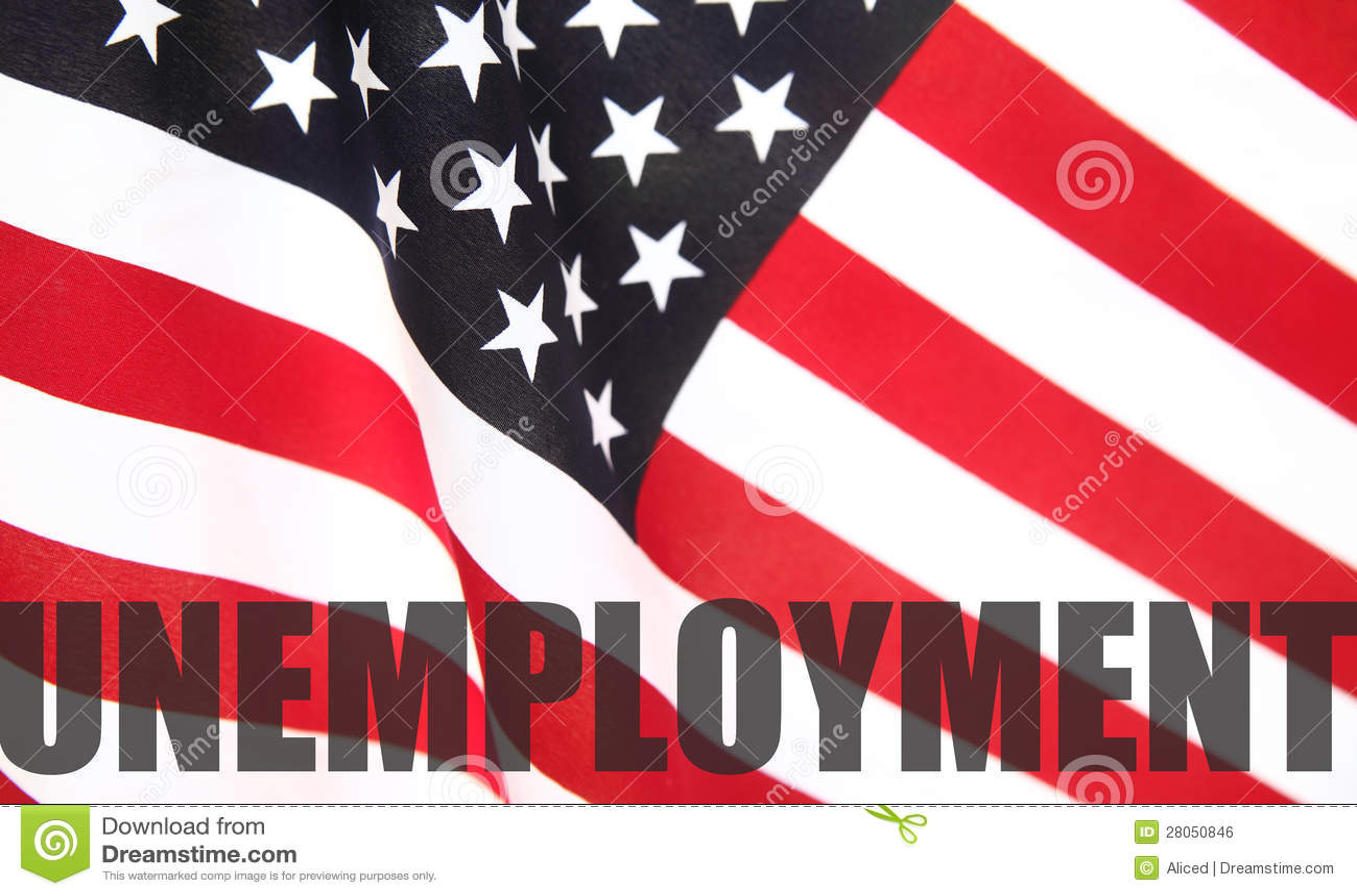 Indicador americano con palabra del desempleo