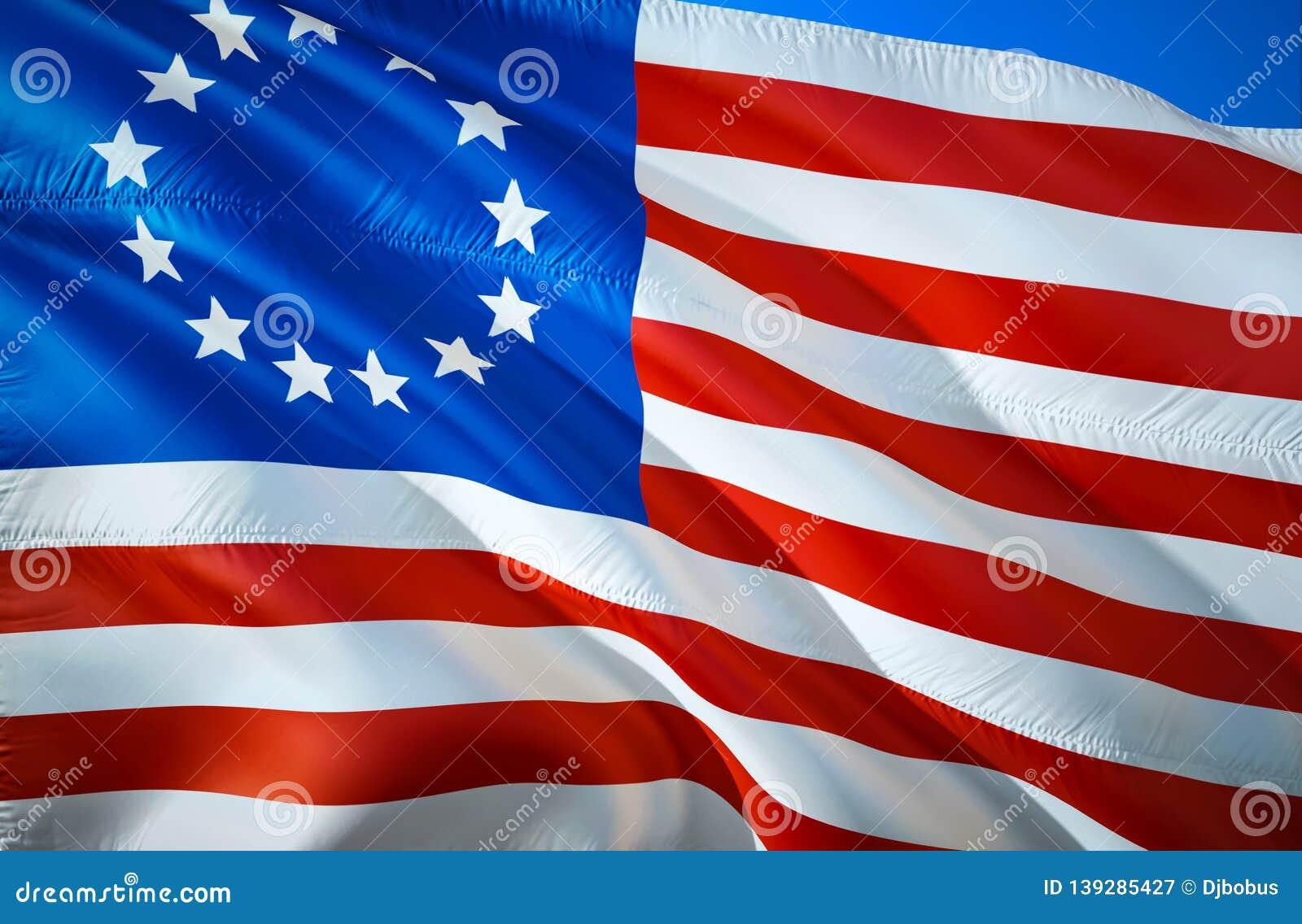 Indicador De Betsy Ross Diseno De La Bandera Que Agita 3d El